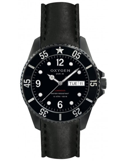 Reloj Oxygen Diver 36 Moby Dick Black Piel EX-D-MBB-36-CL-BL