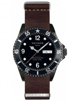 Reloj Oxygen Diver 40 Moby Dick Black Piel EX-D-MBB-40-NL-DB