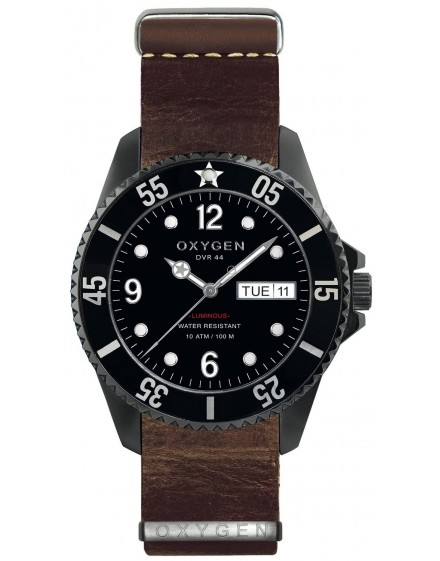 Reloj Oxygen Diver 44 Moby Dick Black Piel EX-D-MBB-44-NL-DB