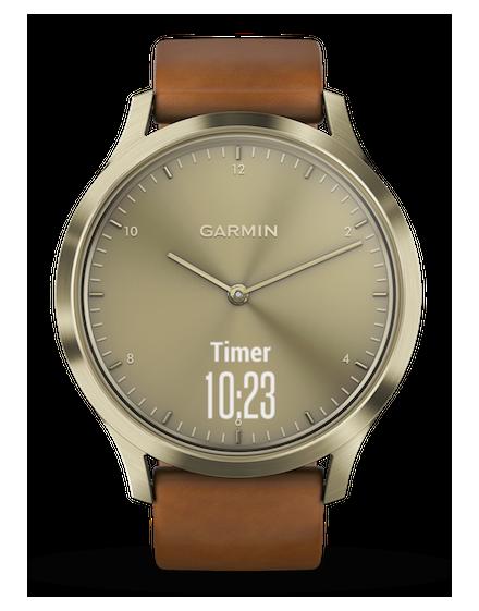 Garmin Vivomove HR Premium Dorado con correa de cuero marronn clara