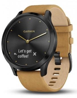 Garmin Vívomove™ HR premium negro con correa de cuero marrón claro