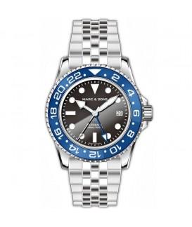 MARC & SONS Watch GMT Series Steel Automatic ETA 2893-2 MSG-007-1-LB-SJ