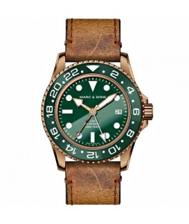 MARC & SONS Mens Watch Automatic GMT Bronze MSG-007B-9