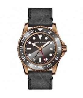 MARC & SONS Mens Watch Automatic GMT Bronze MSG-007B-3