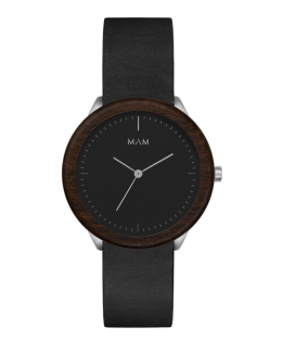 Reloj de madera MAM Originals STAINLESS Dark Teak Black